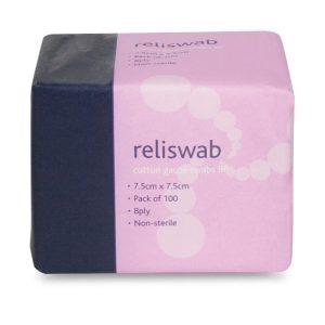 Reliswab Cotton Gauze Swabs BP 7.5x7.5cm