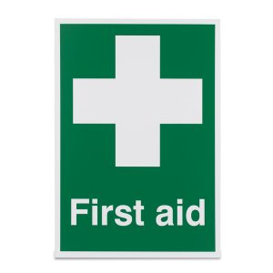 White Cross First Aid Sign Vinyl 297 x 210mm (A4)4750