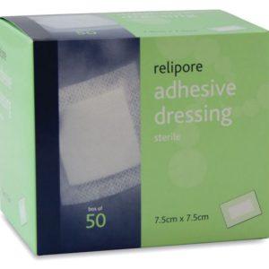 Relipore Adhesive Dressing pads 7.5cm x 7.5cm Box of 50601