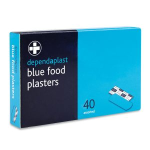 Dependaplast blue washproof plasters assorted box of 40 (for BS8599-1 kits)626