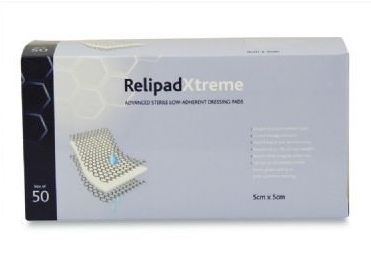 Relipad xtreme non-adherent dressings 5 x 5 cm. Pack of 50F11103