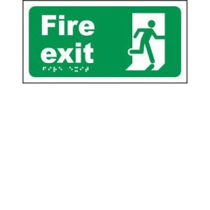 Fire Exit Braille Sign - Moulded plastic -30 x 15cm from St. John Ambulance .F90140
