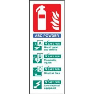 Dry Powder Fire Extinguisher Sign - Vinyl - 7.5 x 20 cmF90458