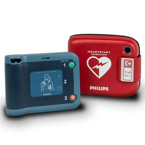 Philips Heart Start Defibrillator FRx (English) with red case,  pre-installed Pads and Battery