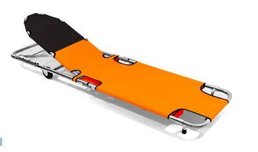 Spencer 310 Orange Emergency folding stretcher with backrestST30310